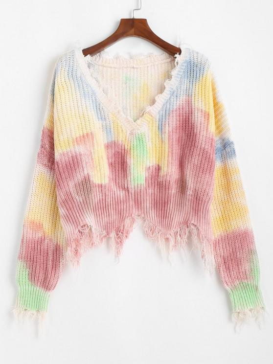 Frayed V Neck Tie Dye Oversized Sweater - متعدد مقاس واحد