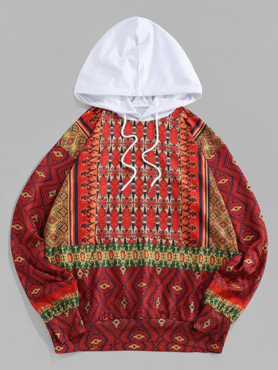 ZAFUL Sudadera con Capucha de Patrón Tribal de Color Bloque - Rojo S