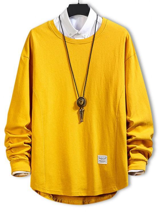 fashion Asymmetric Hem Plain Drop Shoulder Sweatshirt - BEE YELLOW XL