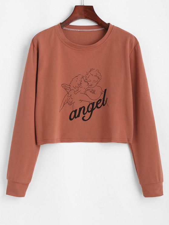 women's Cropped Angel Print Tee - COFFEE M