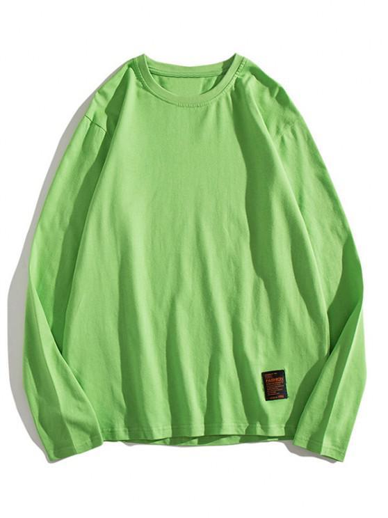 T-shirt Applique en Couleur Unie à Manches Longues - Vert XS