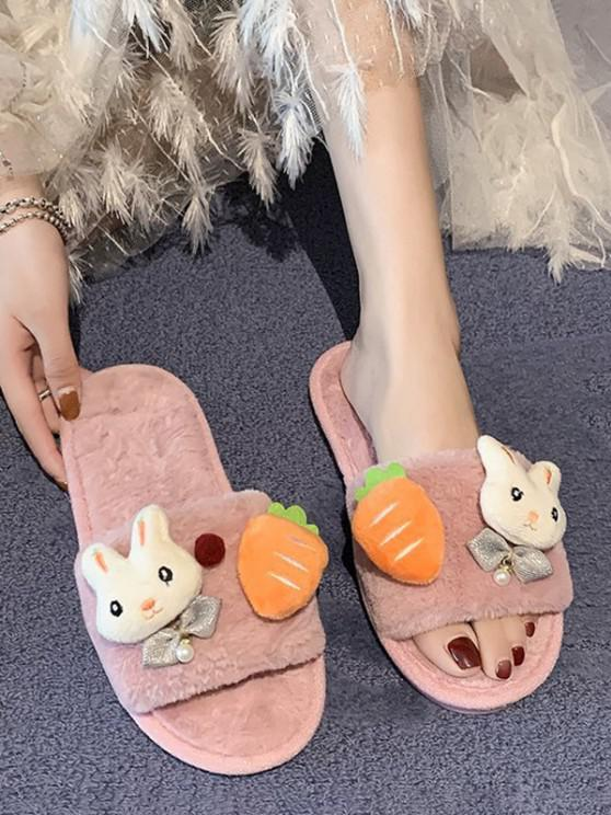 outfits Rabbit Carrot Plush Flat Slippers - LIGHT PINK EU 37