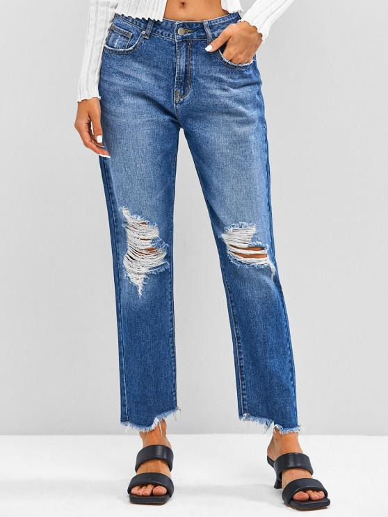 ladies ZAFUL Distressed Frayed Zipper Fly Jeans - DEEP BLUE S