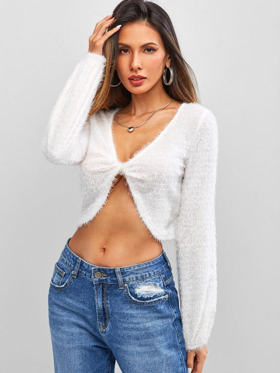 ZAFUL Front Twist Fuzzy Crop Sweater - أبيض M