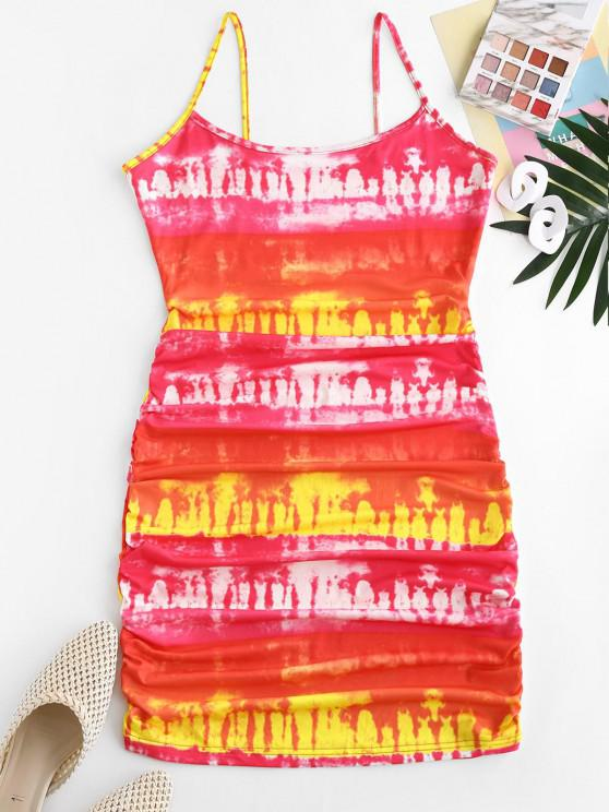 Tie Dye Ruched Bodycon Cami Dress - أحمر M