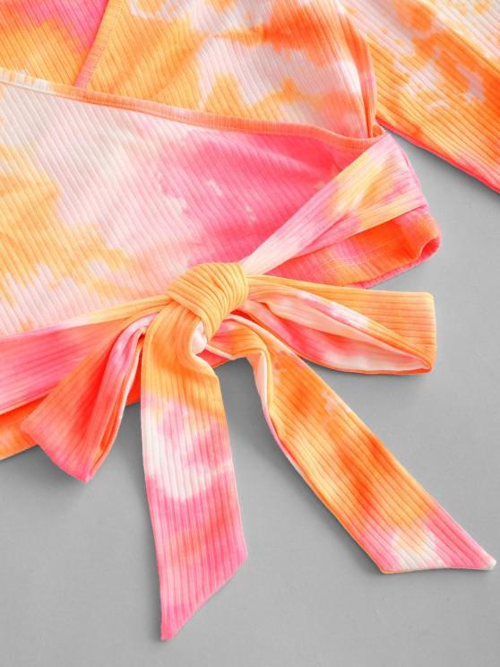 Neon Tie Dye Ribbed Wrap-tie Surplice Top - Multi S   ZAFUL