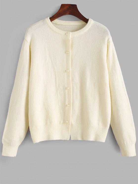 Beading Button Up Cardigan - أبيض حجم واحد