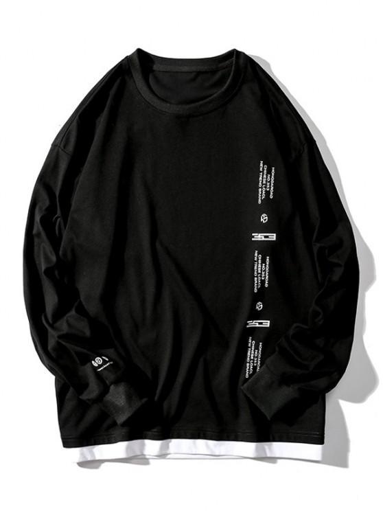 Buchstabe Grafikdruck Künstliche Twinset Langarm T-Shirt - Schwarz 2XL
