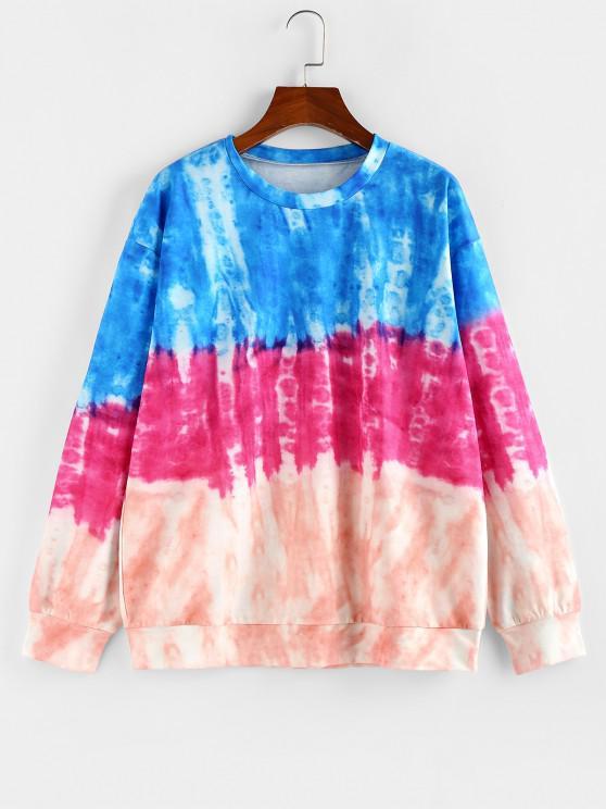 ZAFUL Tie Dye Drop Shoulder Pullover Sweatshirt - متعدد L