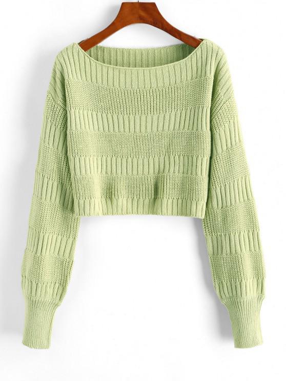 Plain Cropped Pullover Sweater - اخضر فاتح حجم واحد