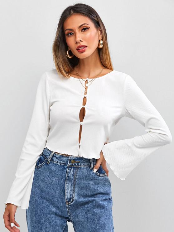 outfits ZAFUL Split Sleeve Ribbed T Shirt - MILK WHITE XL