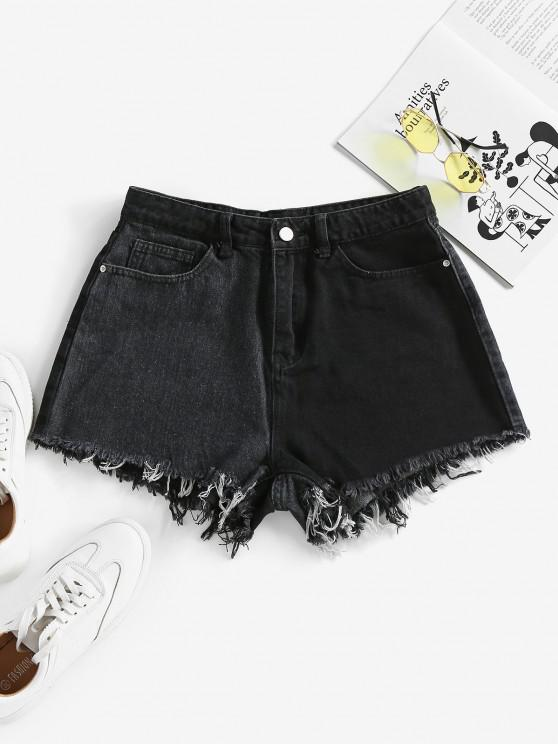 latest ZAFUL Frayed Two Tone Denim Shorts - BLACK L