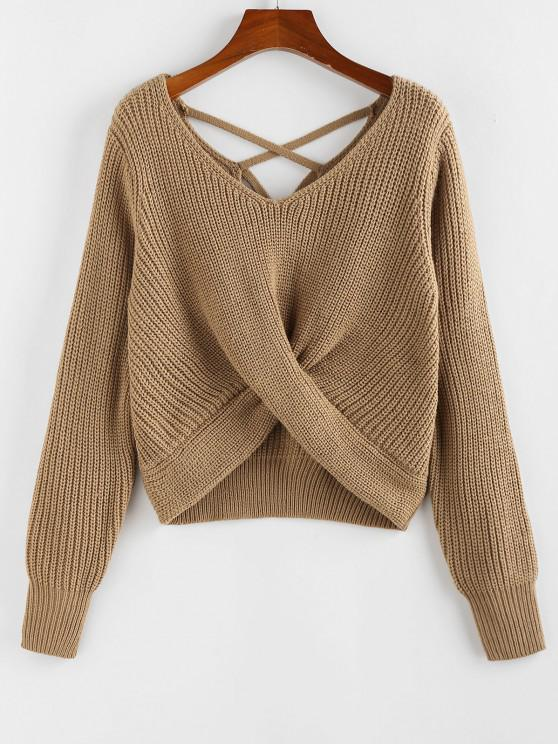 hot ZAFUL Criss Cross Twisted Plain Sweater - COFFEE M