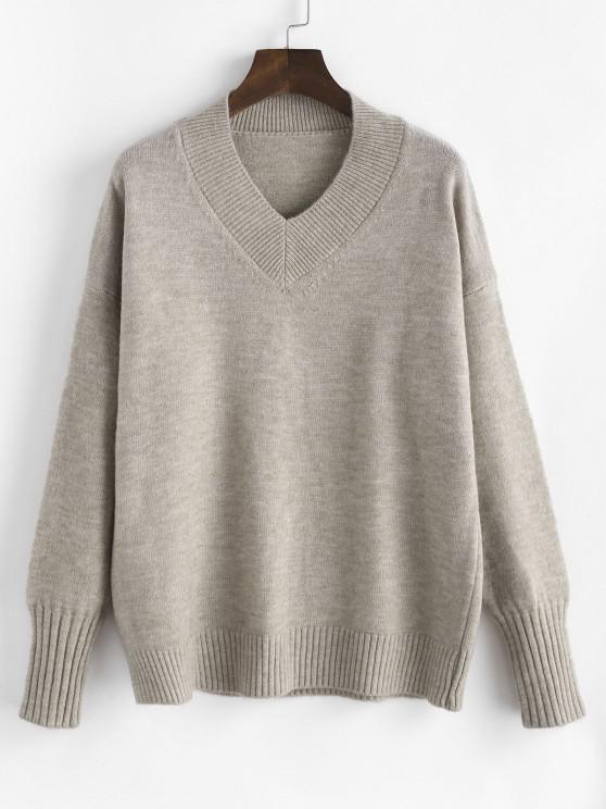 Drop Shoulder Slouchy Sweater - قهوة حجم واحد