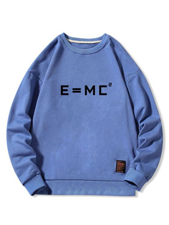 fashion Letter Graphic Applique Crew Neck Sweatshirt - BLUE XL