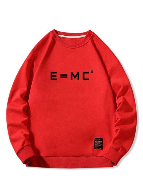 Letter Graphic Applique Crew Neck Sweatshirt - أحمر L