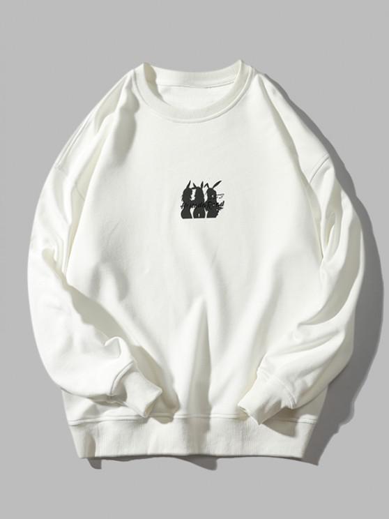 shops Animal Letter Print Crew Neck Sweatshirt - WHITE L