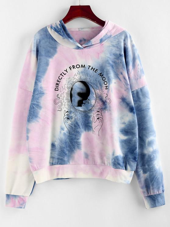 ladies Moon Print Tie Dye Graphic Hoodie - LIGHT BLUE M
