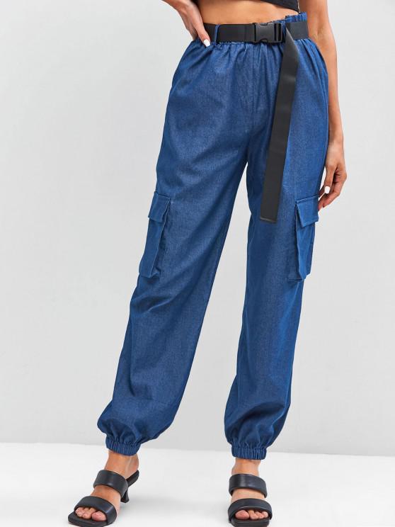 ZAFUL Chambray Buckle Belt Cargo Pants - أزرق M