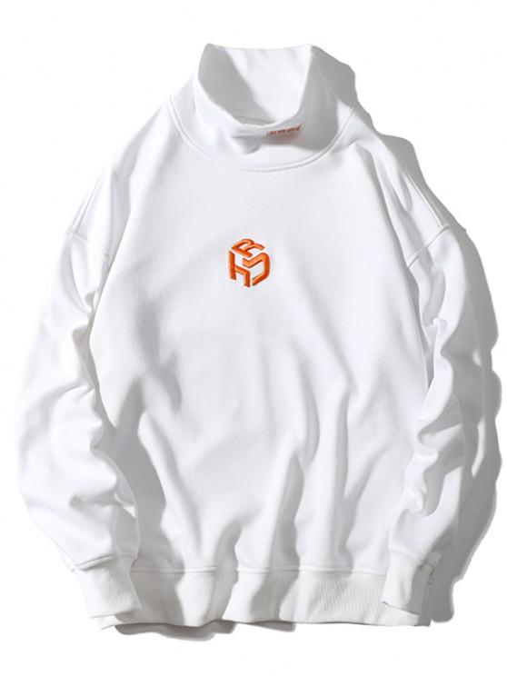 Stickerei Buchstabe Stehkragen Hängender Schulter Sweatshirt - Weiß XL