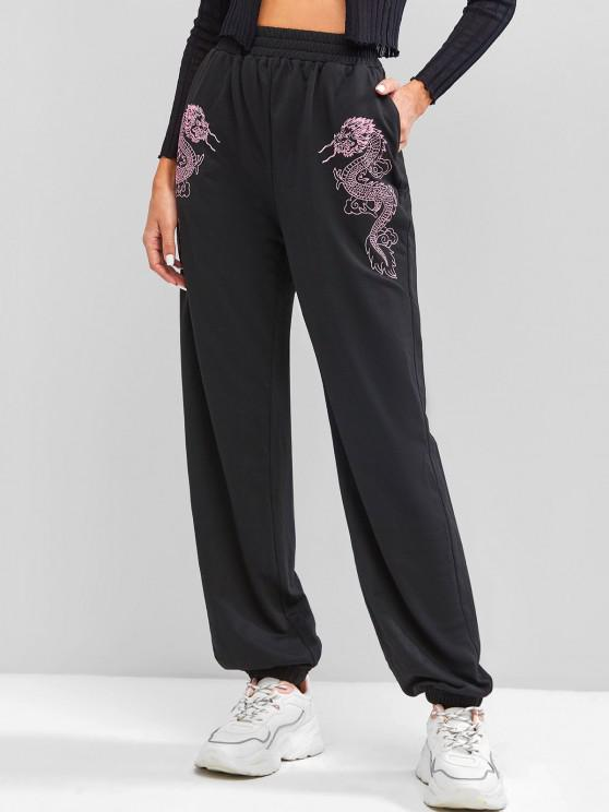 online ZAFUL Dragon Embroidered Chinese Style Sweatpants - BLACK S