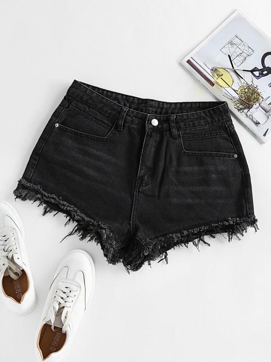 shop ZAFUL Frayed Denim Shorts - BLACK S