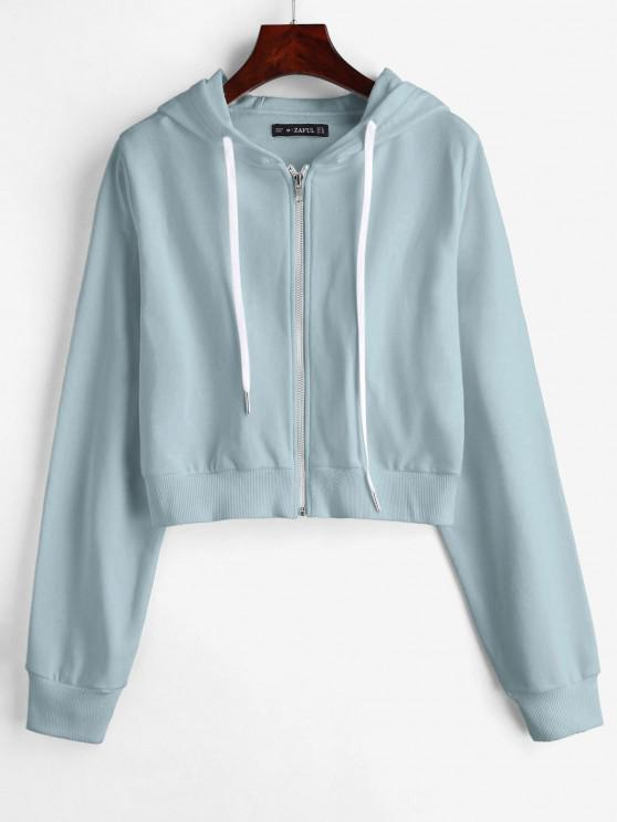 best ZAFUL Drawstring Zip Up Cropped Hoodie - LIGHT BLUE S