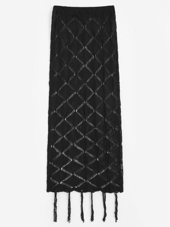 Knitted Openwork Tassel Beach Skirt - أسود حجم واحد