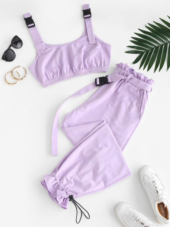 trendy ZAFUL Buckle Strap Crop Top and Drawstring Paperbag Pants Set - MAUVE XL