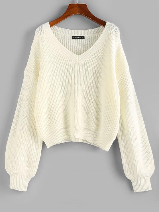 womens ZAFUL V Neck Lantern Sleeve Jumper Sweater - WHITE L