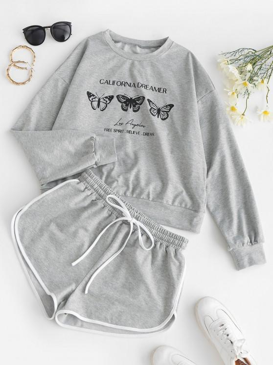 latest ZAFUL Butterfly Print Sweatshirt and Mini Dolphin Shorts Set - LIGHT GRAY M