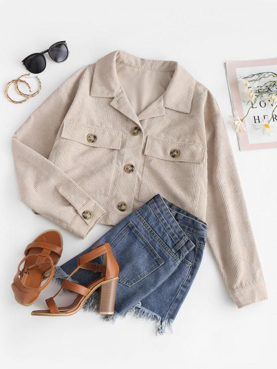 ZAFUL Button Up Double Pockets Corduroy Jacket - ضوء الكاكي S