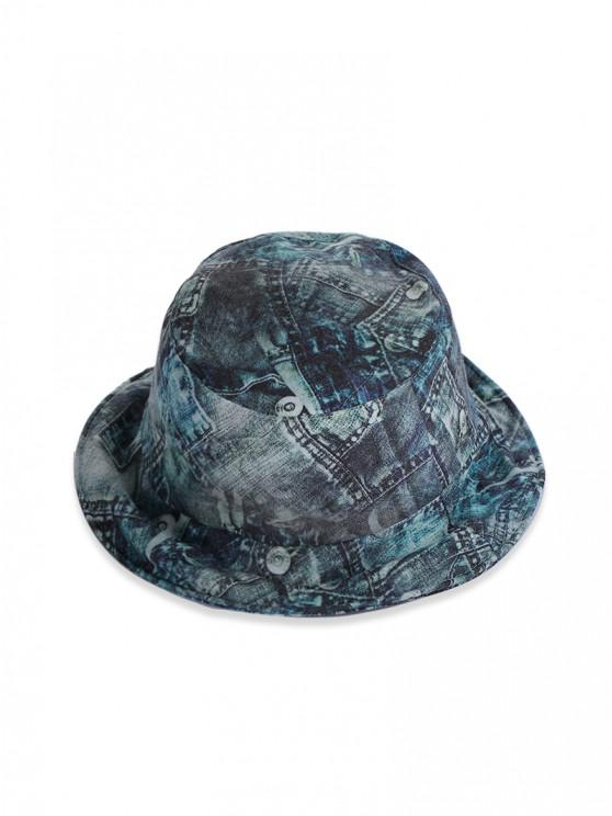 Sombrero de Cubo de Denim con Estampado - Multicolor-B