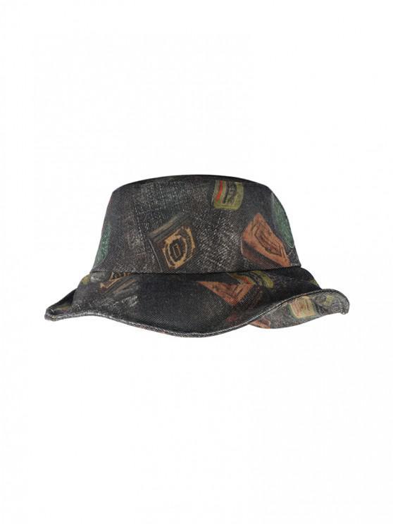 Cappello da Pescatore a Secchio in Denim con Stampa a Secchio - Multi Colori-C
