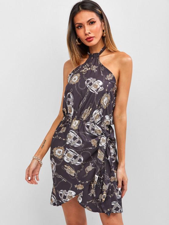 best Baroque Chain Print Halter Backless Mini Asymmetrical Dress - BLACK S