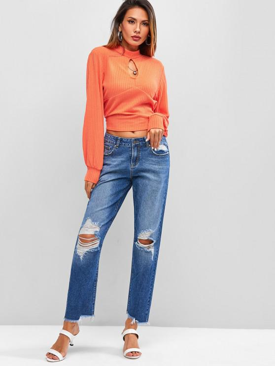 Ribbed Keyhole Cut Out Tie Back Knitwear - Dark Orange L   ZAFUL