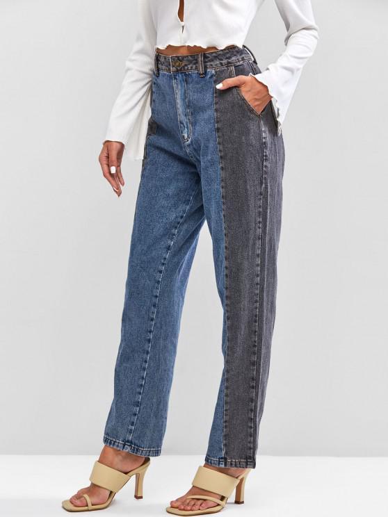 trendy Bicolor Straight Jeans - BLUE L