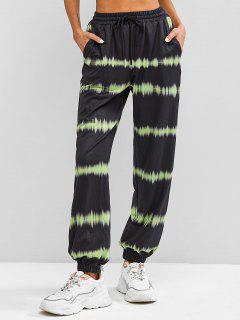 ZAFUL High Waisted Tie Dye Jogger Pants - Black M