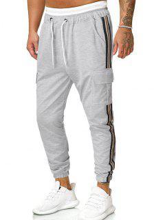 Side Striped Pockets Casual Beam Feet Pants - Gray 2xl