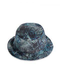 Printed Denim Pattern Bucket Hat - Multi-b