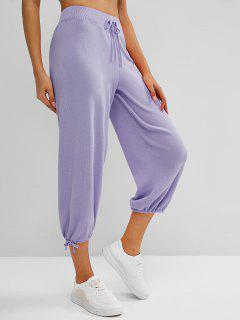 Knitted Drawstring Hem Tie High Rise Pants - Concord
