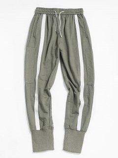 Contrast Stripe Zipper Pocket Jogger Pants - Light Green Xs
