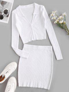 Robe Moulante En Tricot Deux Pièces - Blanc M