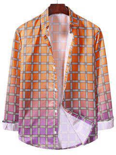 Ombre Plaid Pattern Long Sleeve Shirt - Pumpkin Orange 2xl