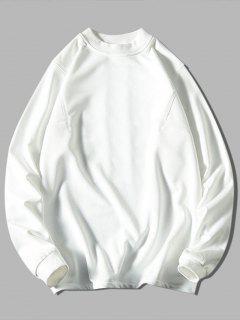 Solid Stitching Mock Neck Sweatshirt - White 3xl