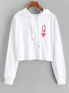 Playing Card Print Drawstring Crop Hoodie - White L