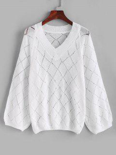 V Neck Openwork Raglan Sleeve Jumper Sweater - White