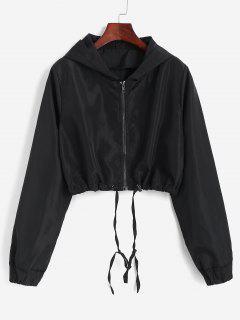 Hooded Cropped Windbreaker Jacket - Black Xl