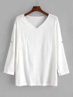 Pure Color V Neck Roll Tab Sleeve Linen Shirt - White M