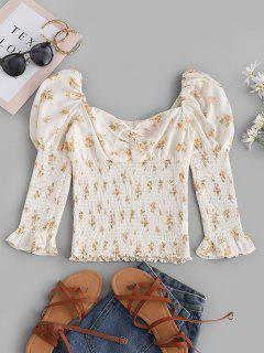 Tie Collar Smocked Ditsy Floral Milkmaid Blouse - White S